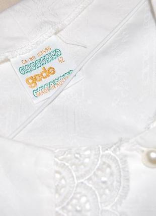 Нежная винтажная хлопковая блуза с отложным воротником и рукава-фонарики gede в идеале5 фото