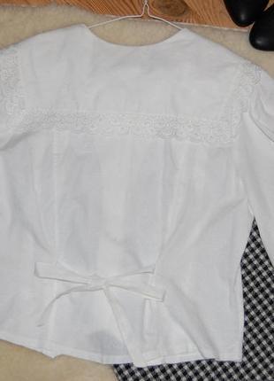 Нежная винтажная хлопковая блуза с отложным воротником и рукава-фонарики gede в идеале7 фото
