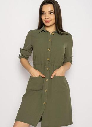 Платье-рубашка на завязках 633f001 горчичный и оливковый1 фото