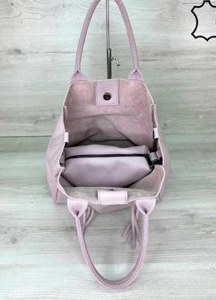 Кожаная женская сумка шоппер aliri 2027 фиолетовая