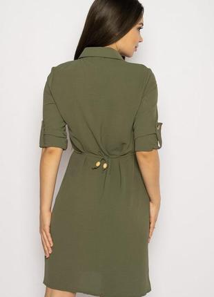 Платье-рубашка на завязках 633f001 горчичный и оливковый3 фото