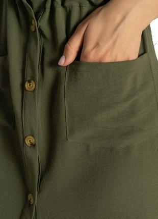 Платье-рубашка на завязках 633f001 горчичный и оливковый7 фото