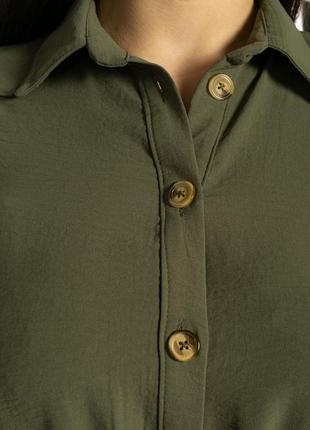 Платье-рубашка на завязках 633f001 горчичный и оливковый8 фото