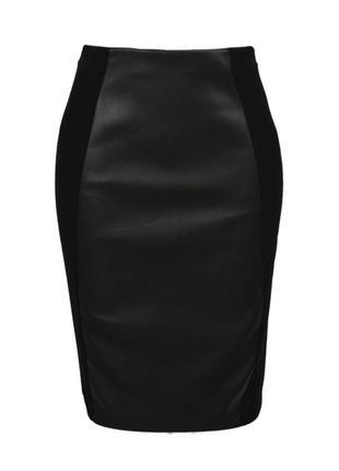 Базовая юбка карандаш черная с кожаной вставкой zara,  h&m,  primark,  only,  bershka