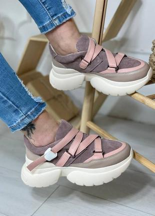Женские кроссовки из натуральной кожи и замши3 фото