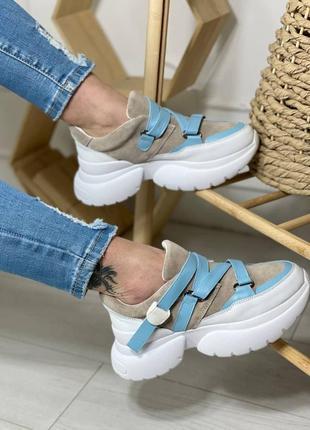 Женские кроссовки из натуральной кожи и замши2 фото