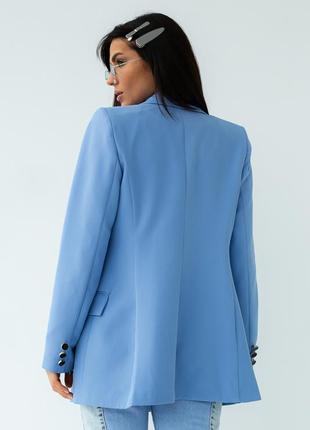 Голубий піджак прямого крою2 фото