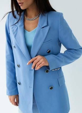 Голубий піджак прямого крою3 фото