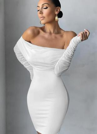 Распродажа платье oh polly присборенное с открытыми плечами asos