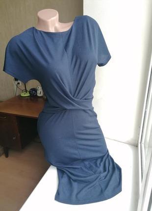 Синее миди платье-карандаш с перехлестом стрейч next (к083)