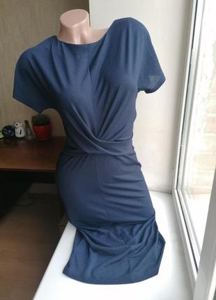 Синее миди платье-карандаш с перехлестом стрейч next (к083)3 фото