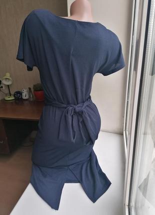 Синее миди платье-карандаш с перехлестом стрейч next (к083)4 фото
