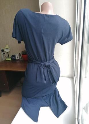 Синее миди платье-карандаш с перехлестом стрейч next (к083)2 фото