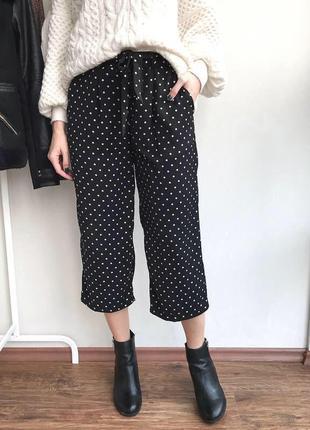 Кюлоты брюки в горошек с ремнем zara h&m mango