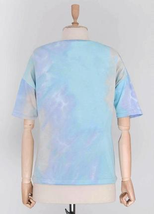 Разноцветная голубая футболка тай дай цветная с затяжкой4 фото