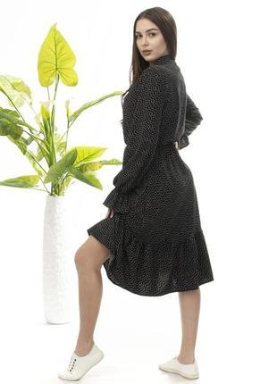 Летнее платье в горох горошек черное миди длинный рукав