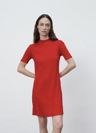 Платье зара в рубчик летнее платице сарафан прямого кроя zara