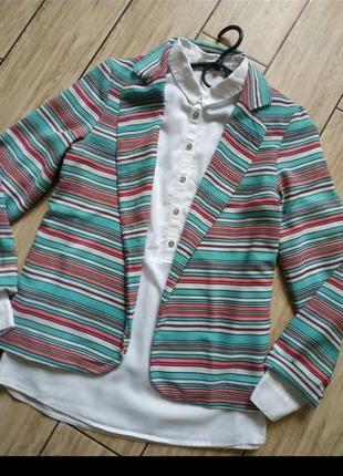 Жакет в полоску кардиган пиджак2 фото