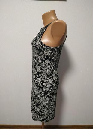 Черное платье с белым узором есть размеры s m / большая распродажа!5 фото