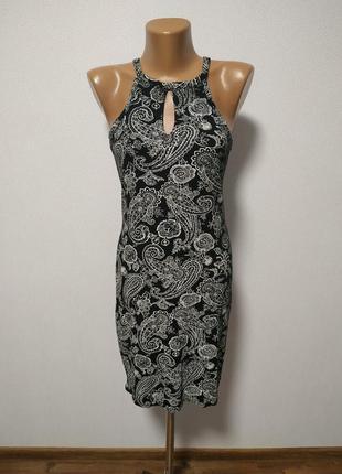 Черное платье с белым узором есть размеры s m / большая распродажа!4 фото
