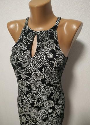 Черное платье с белым узором есть размеры s m / большая распродажа!7 фото