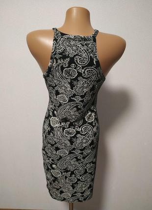 Черное платье с белым узором есть размеры s m / большая распродажа!6 фото