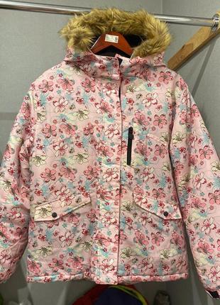 Розовая куртка/пуховик с цветочным принтом