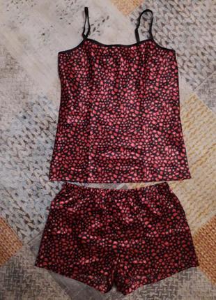 Атласная пижама bronzini шорты майка