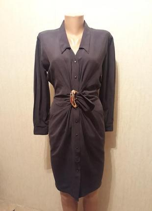 Шёлковое винтажное платье на пуговицах с поясом
