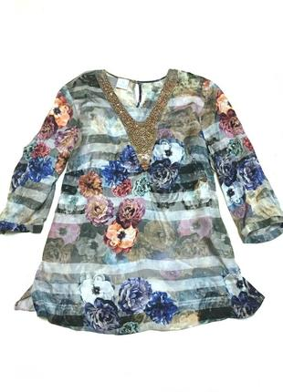 Винтажная шёлковая блуза madeleine 100% шёлк