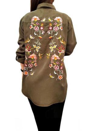 Рубашка из лиоцела блуза с вышивкой лиоцел promod3 фото