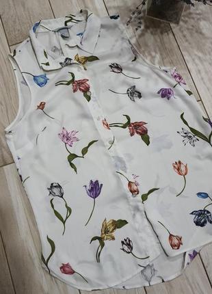 Блуза без рукавов в цветочный принт h&m l-xl/12-14 размер10 фото