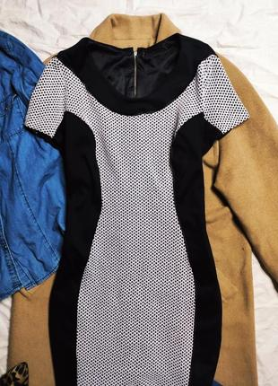 Simply be платье чёрное белое миди классическое карандаш футляр по фигуре2 фото