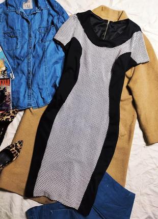 Simply be платье чёрное белое миди классическое карандаш футляр по фигуре