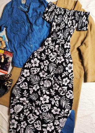 Jennyfer платье новое длинное макси чёрное в белый цветочный принт открыты плечи