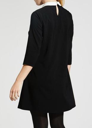 Papaya платье чёрное прямое трапеция с белым воротником и камушками рукав 3/4 свободное4 фото