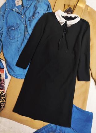 Papaya платье чёрное прямое трапеция с белым воротником и камушками рукав 3/4 свободное5 фото