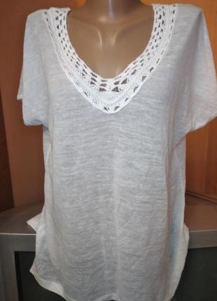Белая трикотажная легкая блуза