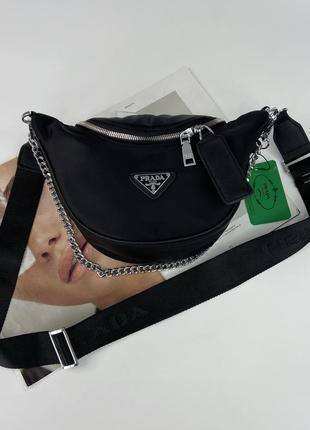 Женская сумка бананка через плечо кросс боди с цепочкой жіноча сумочка