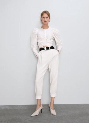 Блуза из органзы с рукавами буфами