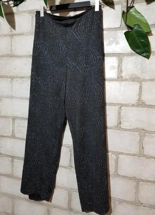 Брюки трубы с люрексом и гипюровая блуза блузон ажурный2 фото