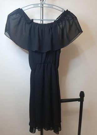 Платье черное на бретелях h&m3 фото