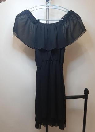 Платье черное на бретелях h&m2 фото