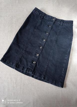 Юбка женская на пуговицах джинсовая george 8 36 серая черная