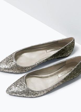 Zara woman зара балетки туфли блестящие глиттер