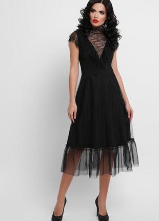Кружевное черное платье s, m3 фото