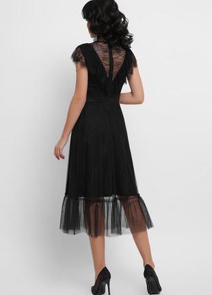 Кружевное черное платье s, m6 фото