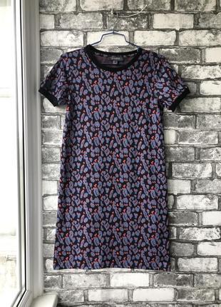 Шикарное трикотажное платье футболка в леопардовый принт прямого кроя primark