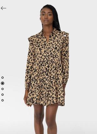 Платье-рубашка с воланом stradivarius4 фото