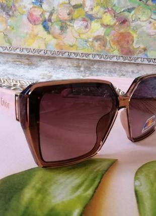 Эксклюзивные брендовые розовые нюдовые солнцезащитные женские очки с поляризацией